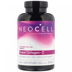 Супер Коллаген, Тип 1 и 3, Collagen + C, Neocell, 6000 мг, 250 таблеток