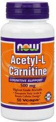 Ацетил Л карнитин, Acetyl-L Carnitine, Now Foods, 500 мг, 50 капсул
