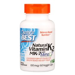 Витамин К2, МК-7 Featuring MenaQ7 Vitamin K2, Doctor's Best, 100 мкг, 60 капсул