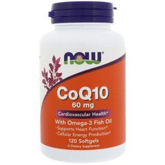 Коэнзим Q10 с рыбьим жиром, CoQ10, Now Foods, 60 мг 120 капсул