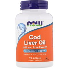 Рыбий жир из печени трески, Cod Liver Oil, Now Foods, 1000 мг, 90 капсул