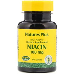 Ниацин, Niacin, Nature's Plus, 100 мг, 90 таблеток