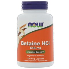 Бетаин гидрохлорид, Betaine HCL, Now Foods, 648 мг, 120 капсул