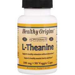 L-теанин, L-Theanine, Healthy Origins, 100 мг, 90 капсул
