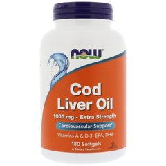 Now Foods, Рыбий жир из печени трески, Cod Liver Oil, Now Foods, 1000 мг, 180 капсул