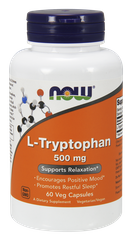 Триптофан, L-Tryptophan, Now Foods, 500 мг, 60 капсул