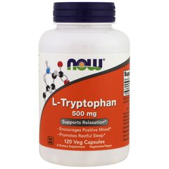 Триптофан, L-Tryptophan, Now Foods, 500 мг, 120 капсул