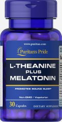 Л-теанин плюс мелатонин, L-Theanine Plus Melatonin, Puritan's Pride, 30 капсул