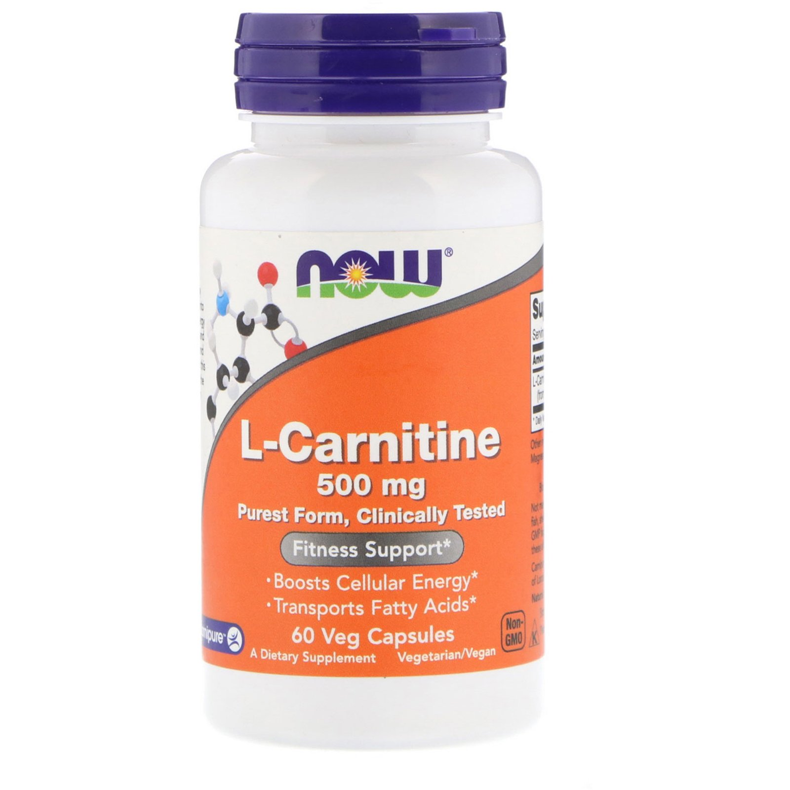 Л карнитин тартрат, L-Carnitine, Now Foods, 500 мг 60 капсул