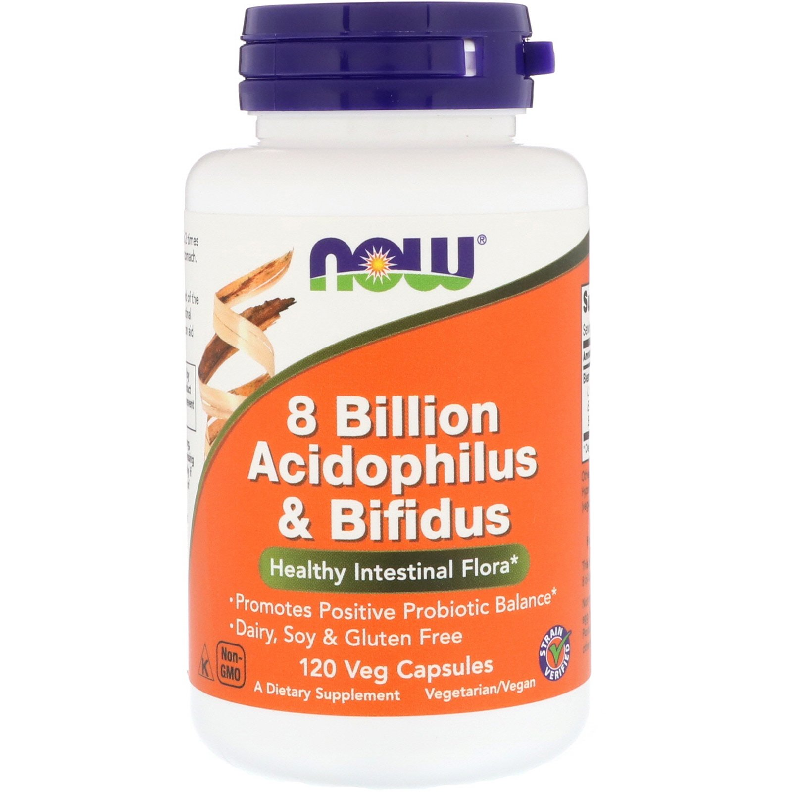 Пробіотики, Acidophilus & Bifidus, Now Foods, 8 млрд Кое, 120 капсул