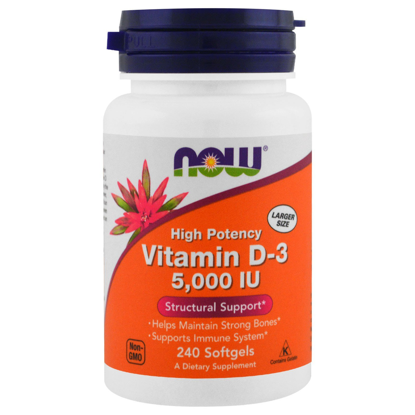 Витамин Д3, Vitamin D-3, Now Foods, 5000 МЕ, 240 капсул
