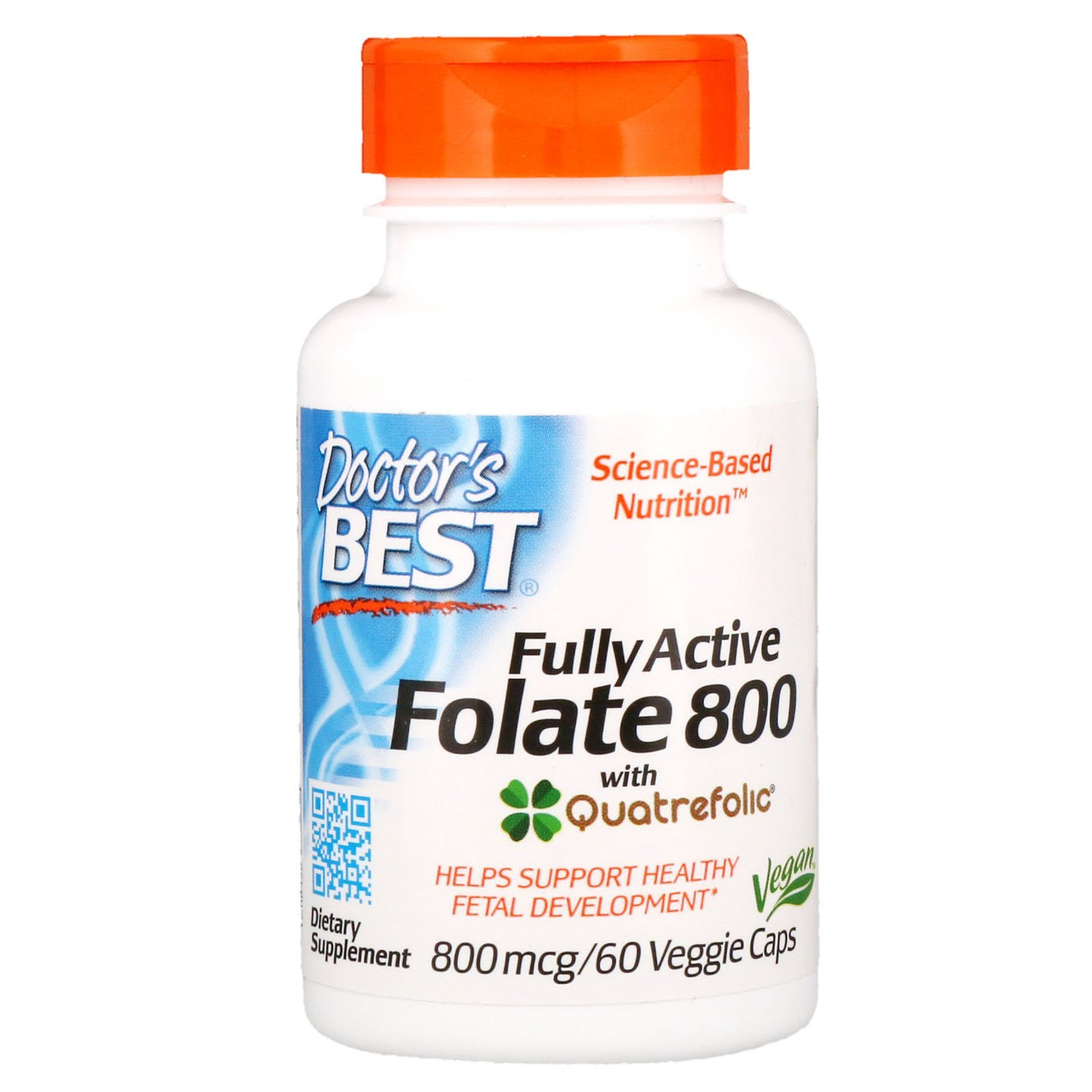 Фолат, Active Folate, Doctor's Best, 800 мкг, 60 капсул