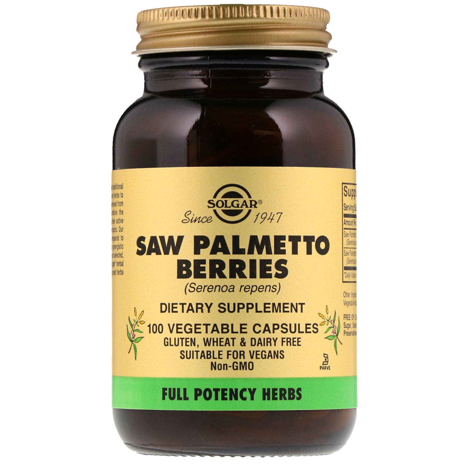 Со Пальметто, Saw Palmetto Berries, Solgar, ягоди, 100 капсул