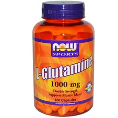 Глютамин, L-Glutamine, Now Foods, Sports, 1000 мг, 120 капсул