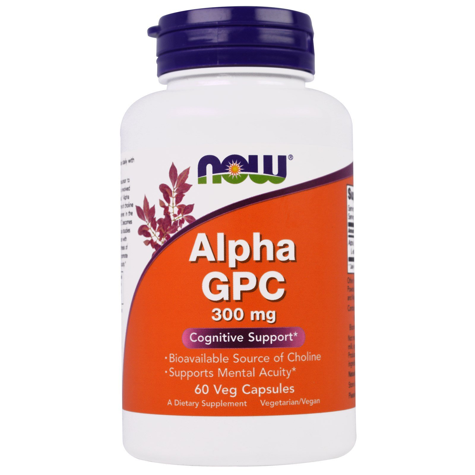 Альфа (Гліцерофосфохолін) Alpha GPC, Now Foods, 300 мг, 60 капсул