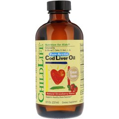 Риб'ячий жир з печінки тріски для дітей, Cod Liver Oil, ChildLife, полуниця, 237 мл