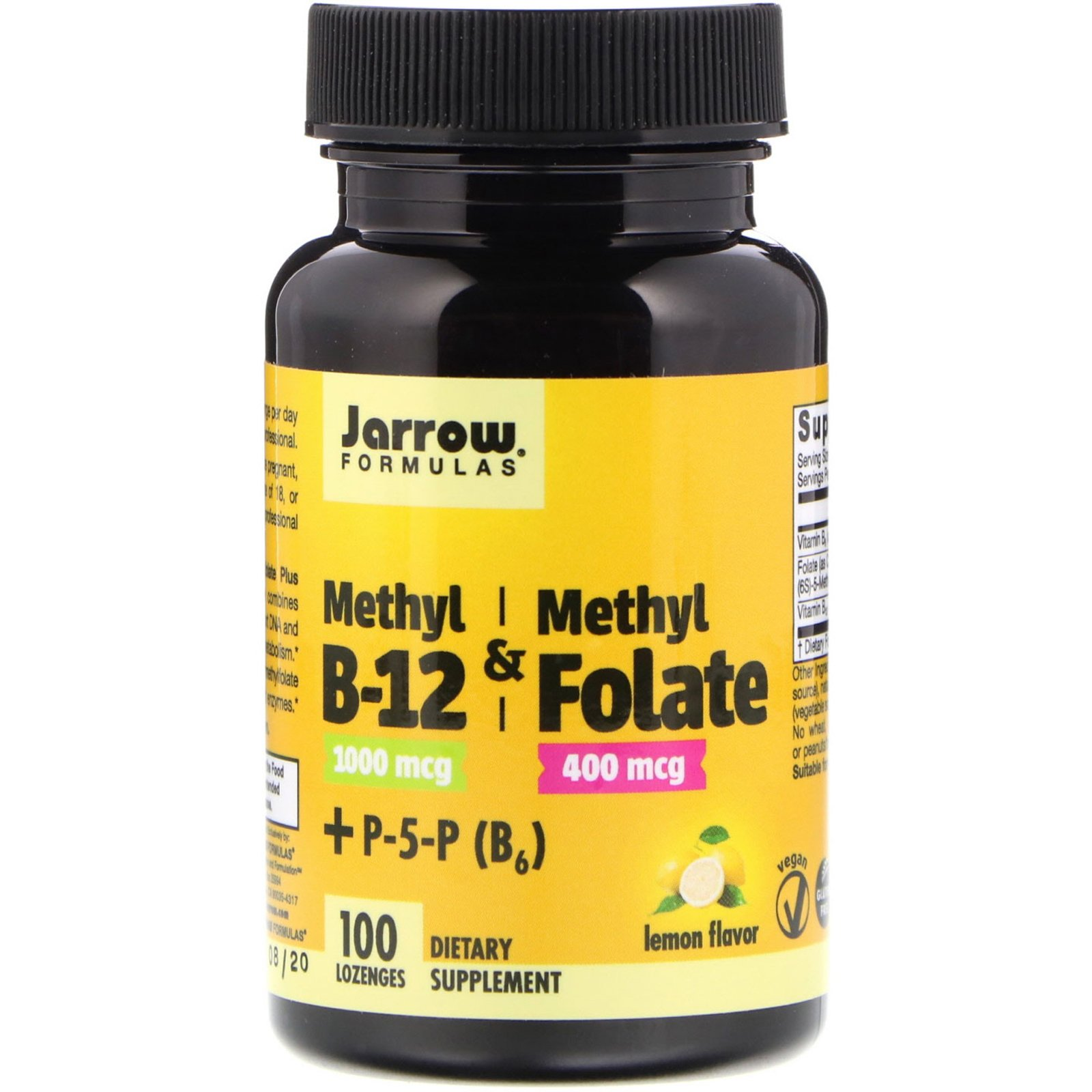Метілфолат і метил B-12, Methyl B-12 & Methyl Folate, Jarrow Formulas 1000 мкг / 400 мкг, 100 Леду