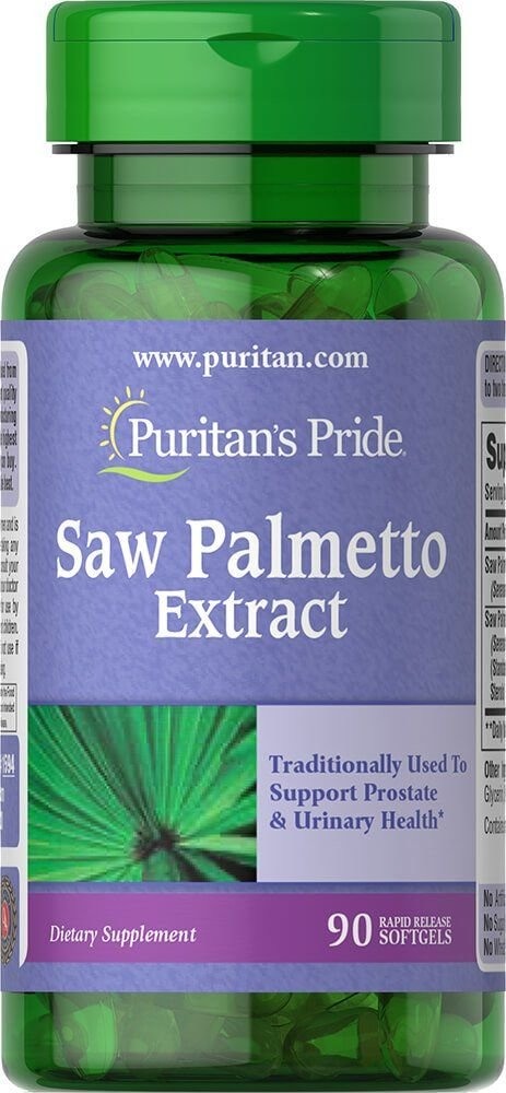 Со пальметто, Saw Palmetto, Puritan's Pride, екстракт, 90 гелевих капсул