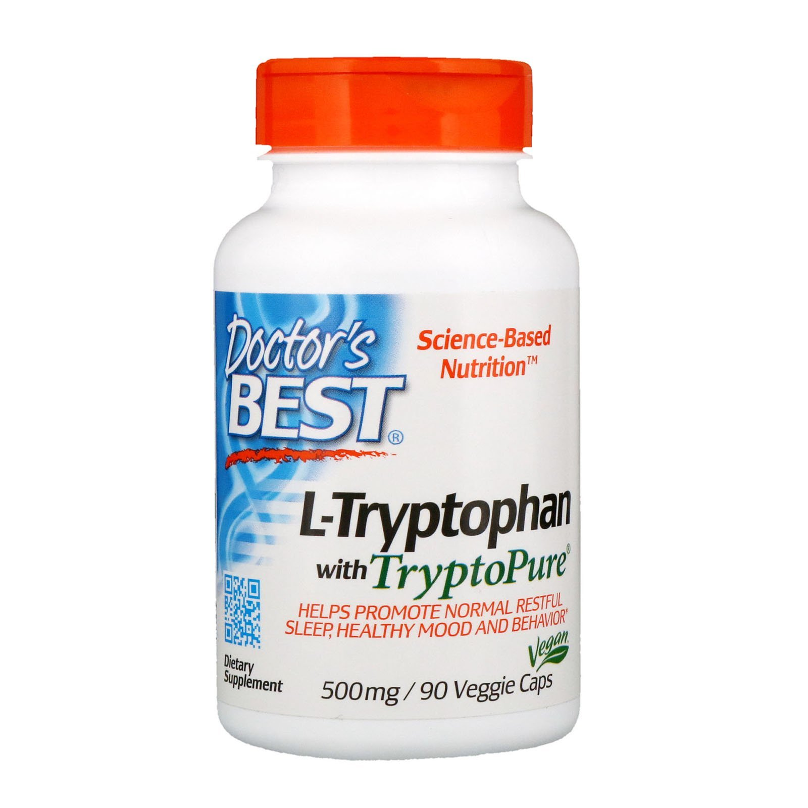 L-триптофан, Doctor's Best, 500 мг, 90 капсул