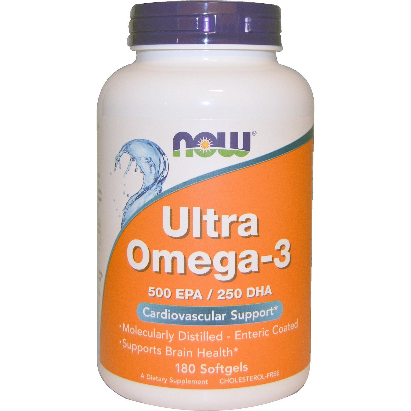 Супер омега 3, Omega-3, Now Foods, 500 EPA / 250 DHA, 180 капсул
