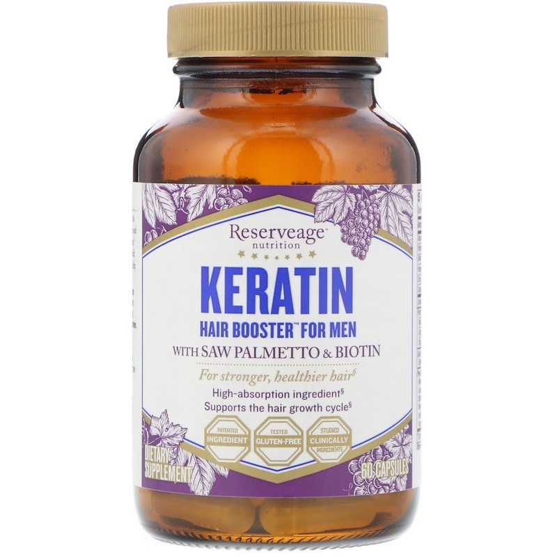 Кератин для мужчин ReserveAge Nutrition, Keratin Booster for Men, 60 капсул