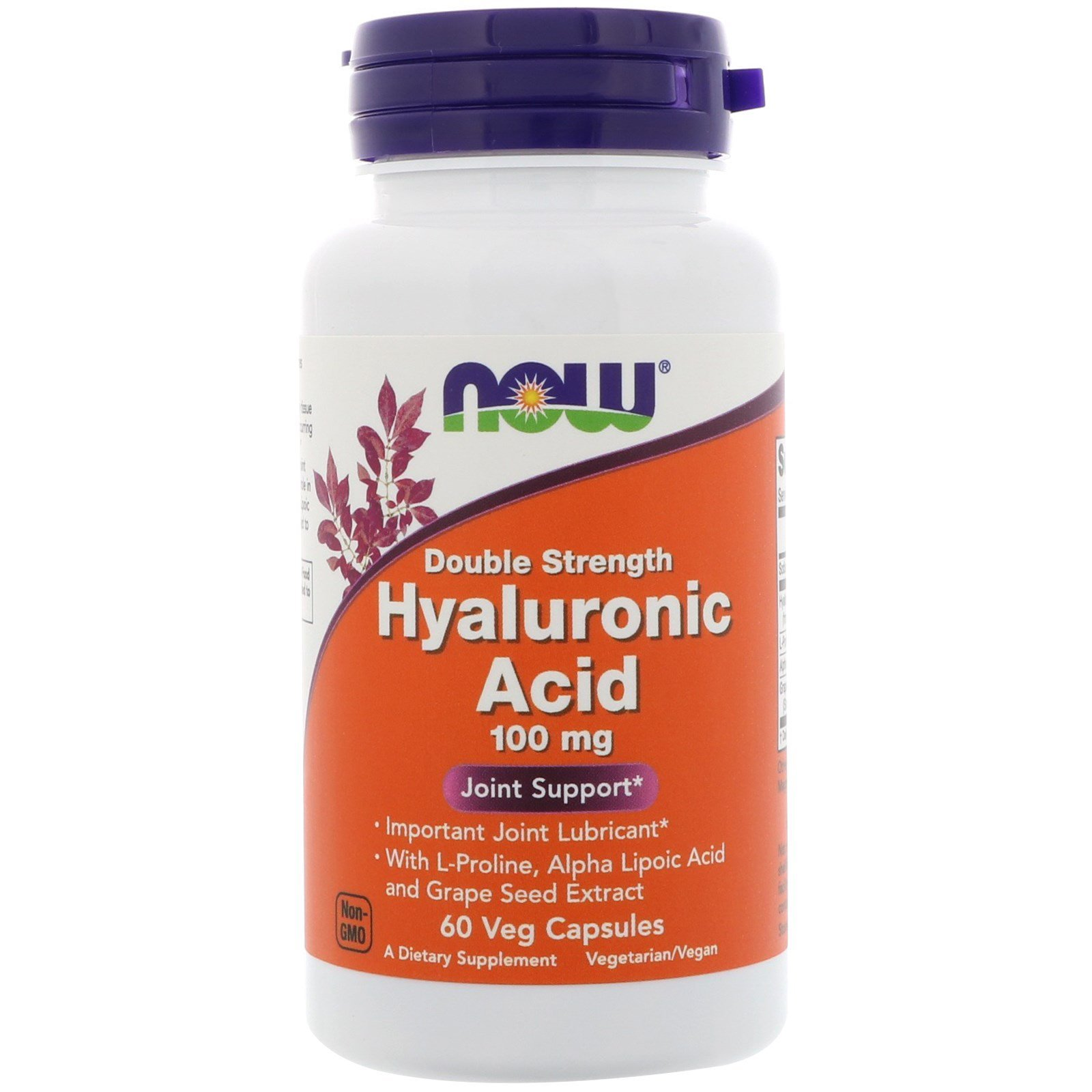 Гиалуроновая кислота, Hyaluronic Acid, Now Foods, 100 мг, 60 капсул