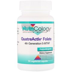 Фолат, 5-MTHF, QuatreActiv Folate, Nutricology, 90 капсул
