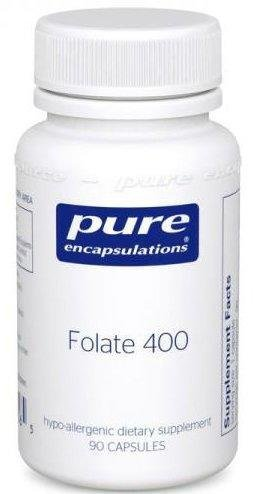 Фолат, Folate, Pure Encapsulations, 400 мг, 90 капсул