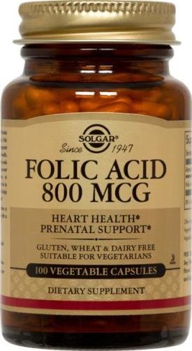 Фолиевая кислота, Folic Acid, Solgar, 800 мкг, 100 капсул