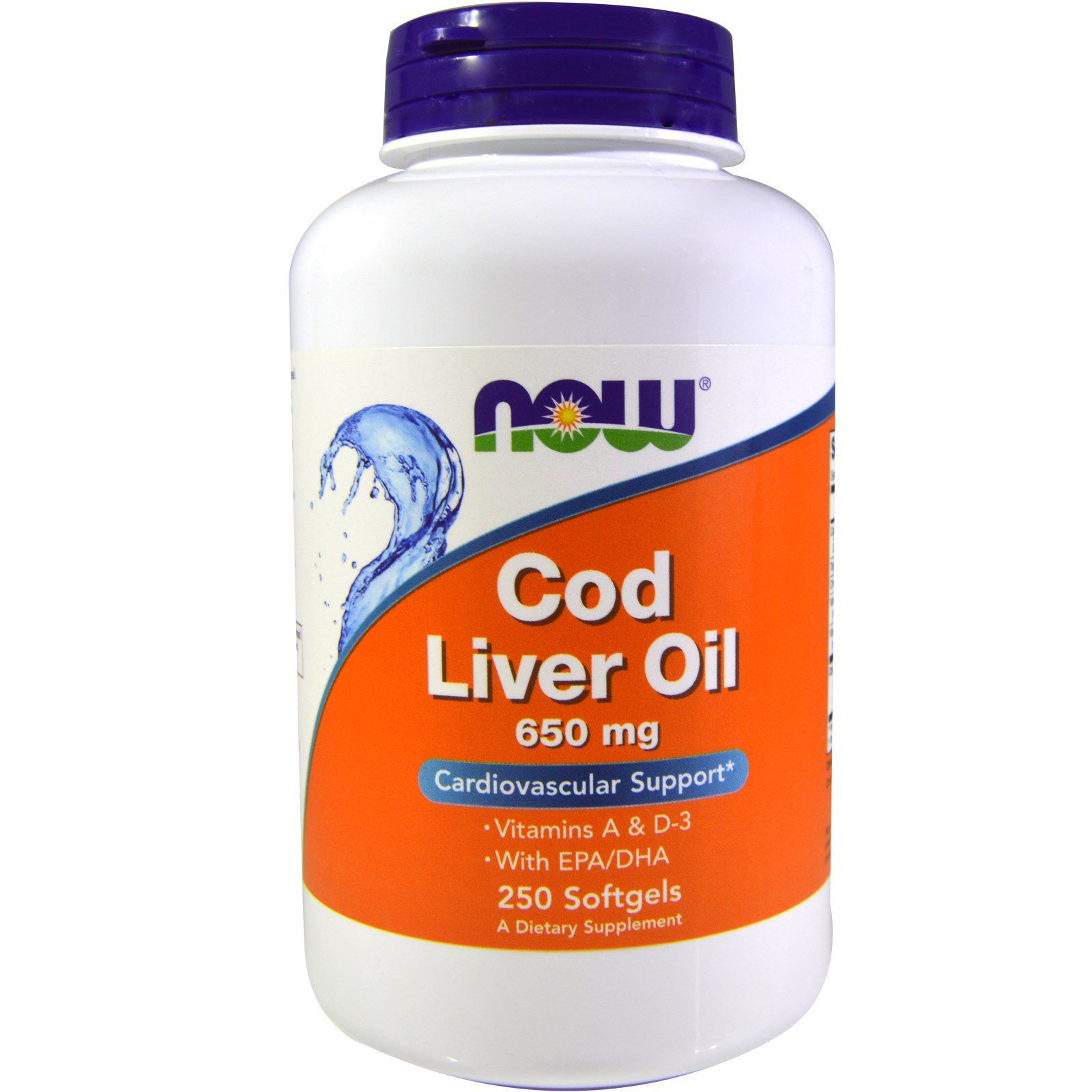 Риб'ячий жир з печінки тріски, Cod Liver Oil, Now Foods, 650 мг, 250 капсул