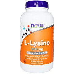 Лізин, L-Lysine, Now Foods, 500 мг, 250 капсул