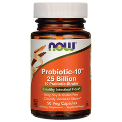 Пробіотик-10, Probiotic, Now Foods, 25 млрд КУО, 30 капсул