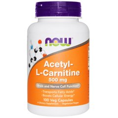 Ацетил карнитин, Acetyl-L Carnitine, Now Foods, 500 мг, 100 капсул