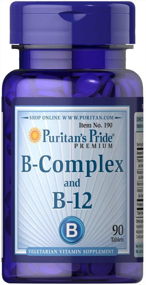Вітаміни групи В, Vitamin B-Complex and Vitamin B-12, Puritan's Pride, 90 таблеток