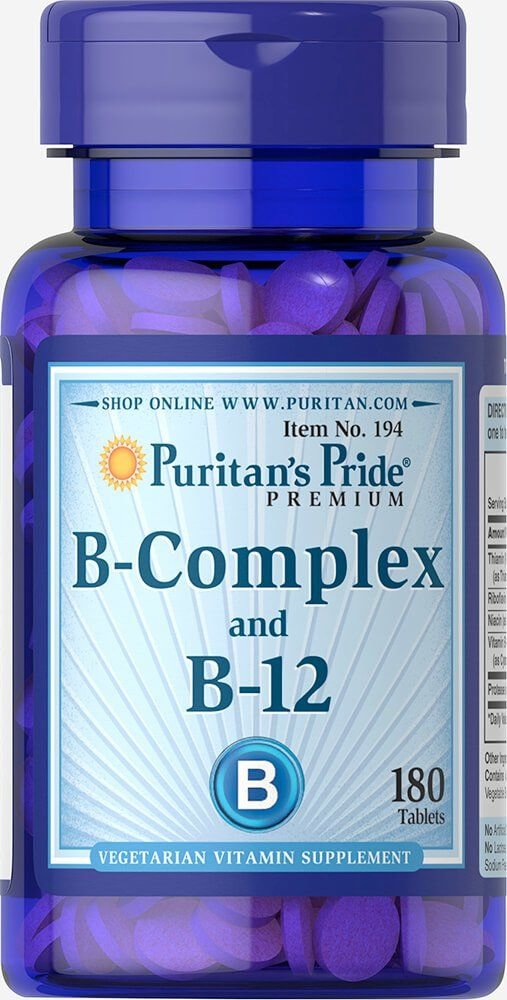 Вітаміни групи В, Vitamin B-Complex and Vitamin B-12, Puritan's Pride, 180 таблеток