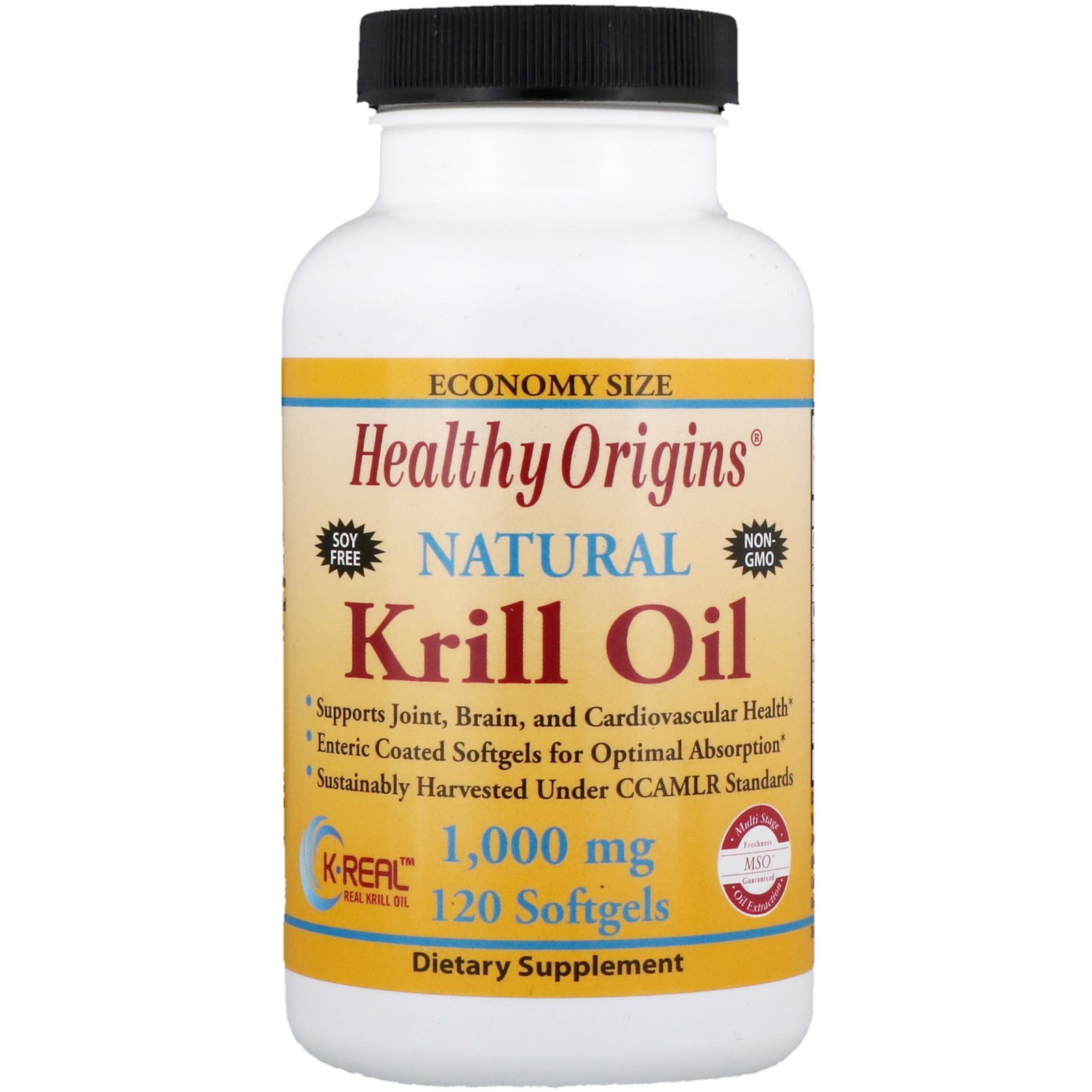 Масло криля, Healthy Origins, Krill Oil, Natural Vanilla Flavor, 1,000 mg, 120 Softgels