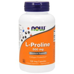 Пролин, L-Proline, Now Foods, 500 мг, 120 капсул