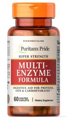 Мульти ензими, Super Strength Multi Enzyme, Puritan's Pride, 60 капсул