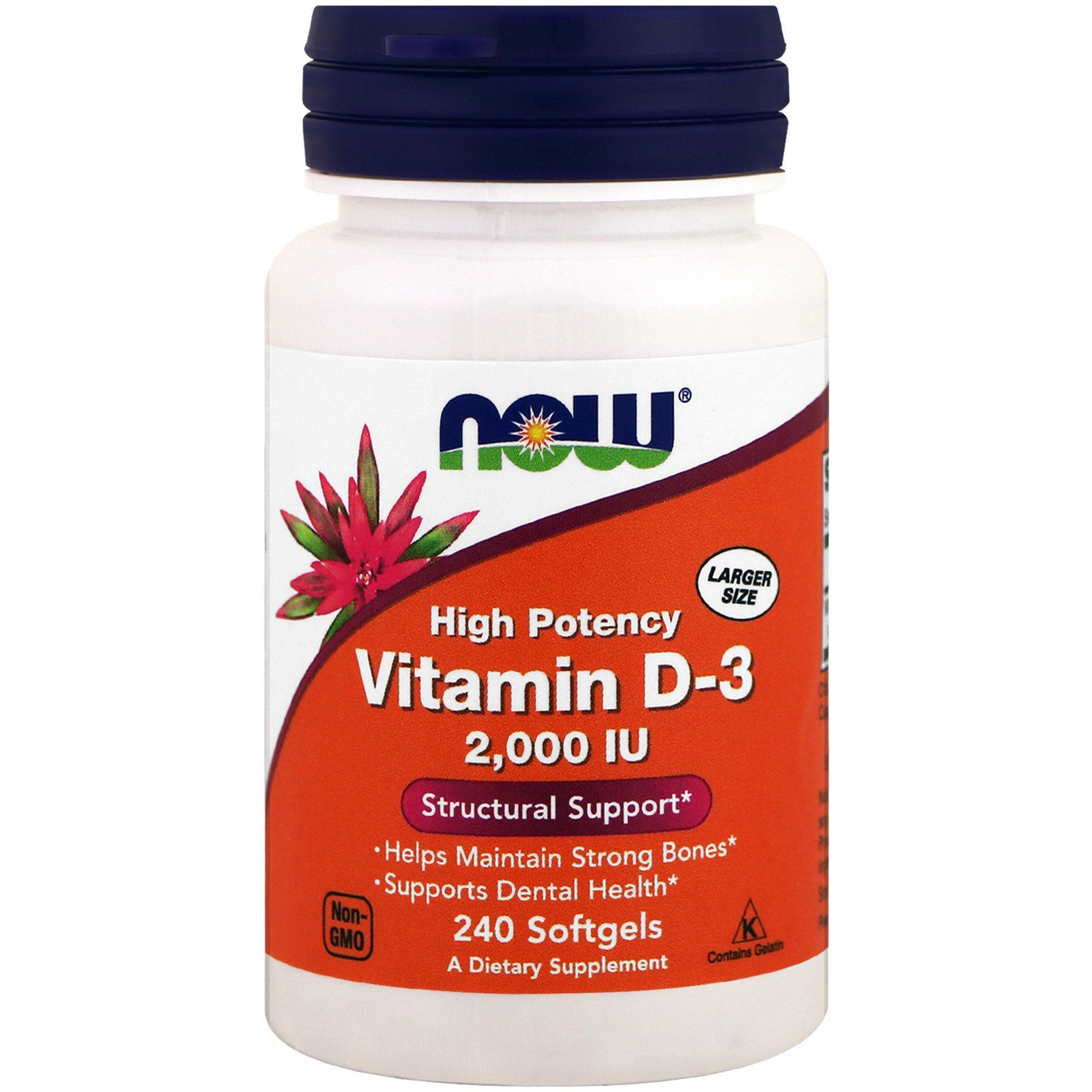 Витамин Д3, Vitamin D-3, Now Foods, 2000 МЕ, 240 капсул