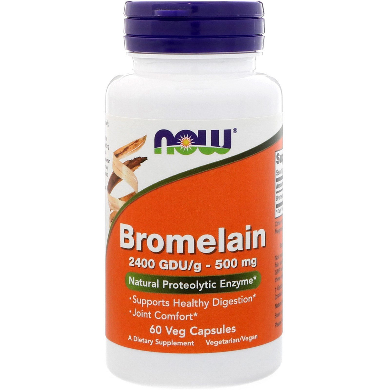 Бромелайн, Bromelain, Now Foods, 500 мг, 60 капсул