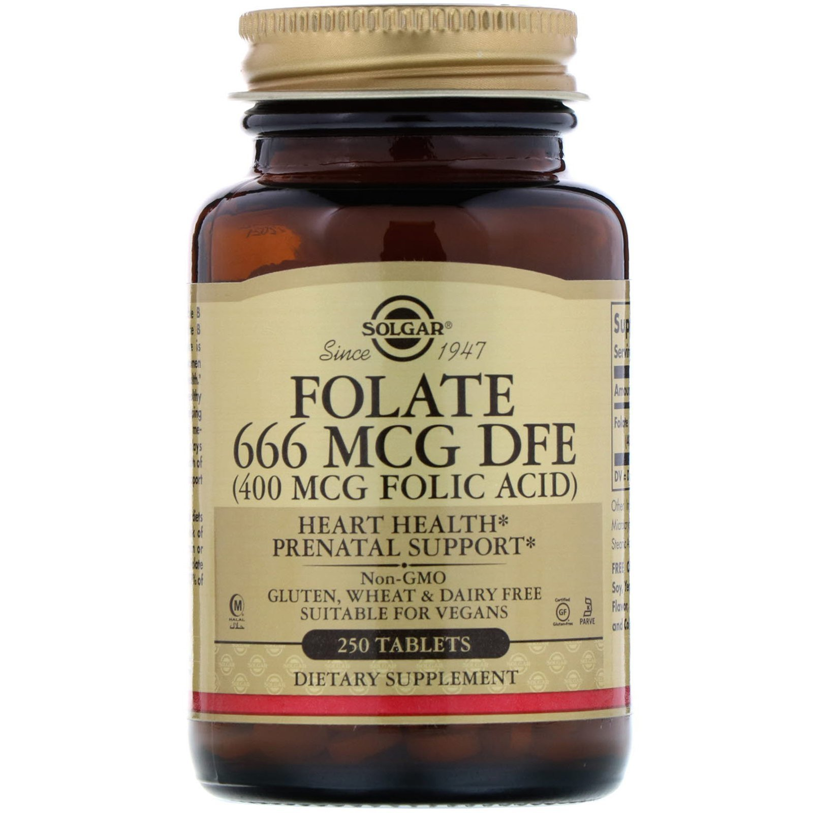 Фолиевая кислота (Folic Acid), Solgar, 400 мкг, 250 таблеток