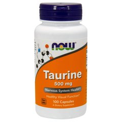 Таурин, Taurine, Now Foods, 500 мг, 100 капсул
