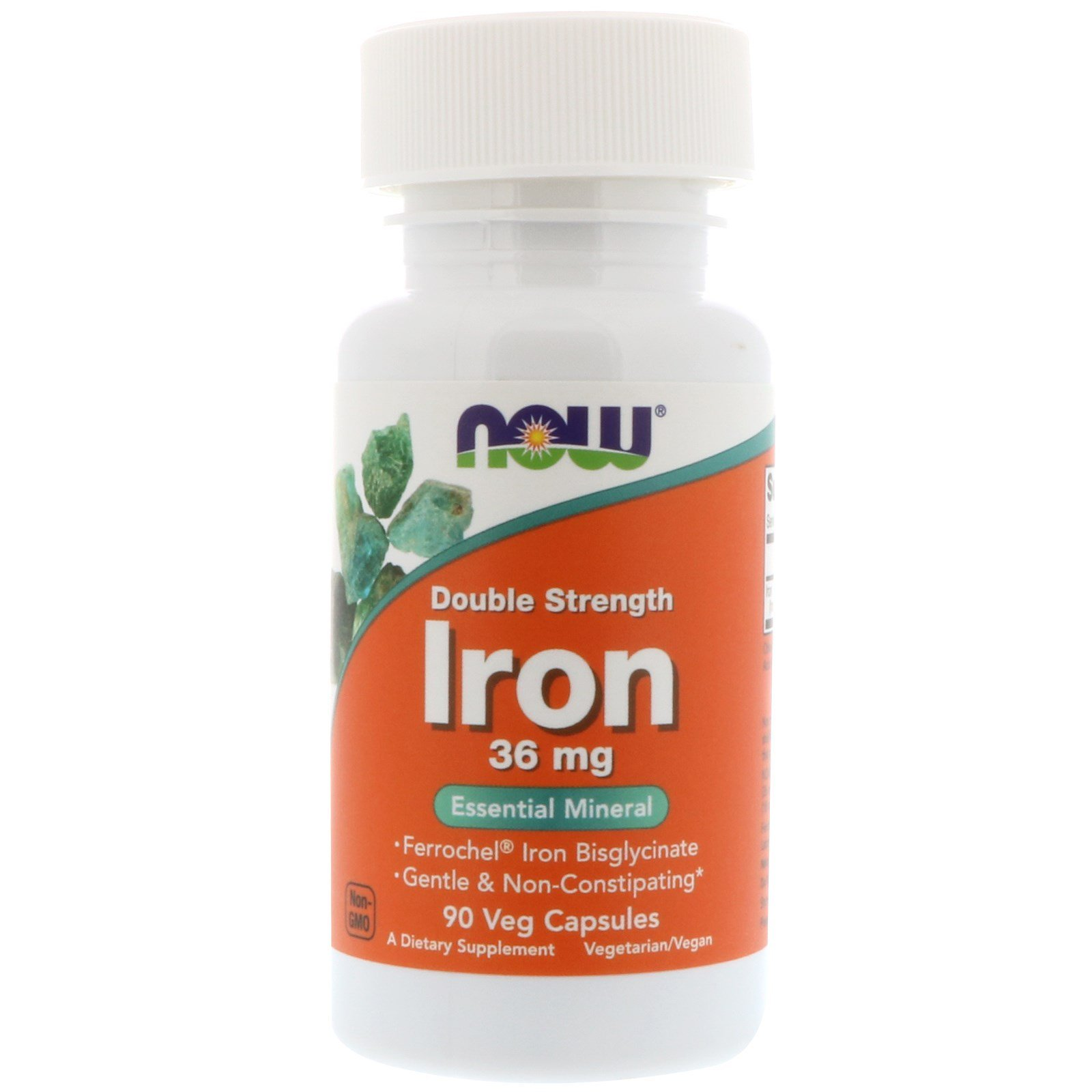 Железо, Iron, Now Foods, 36 мг, 90 капсул