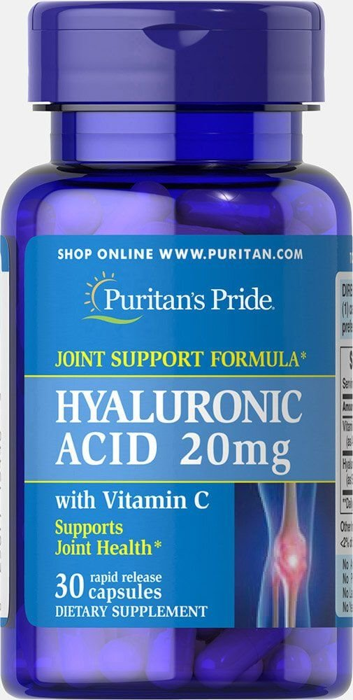 Гиалуроновая кислота, Hyaluronic Acid, Puritan's Pride, 20 мг, 30 капсул