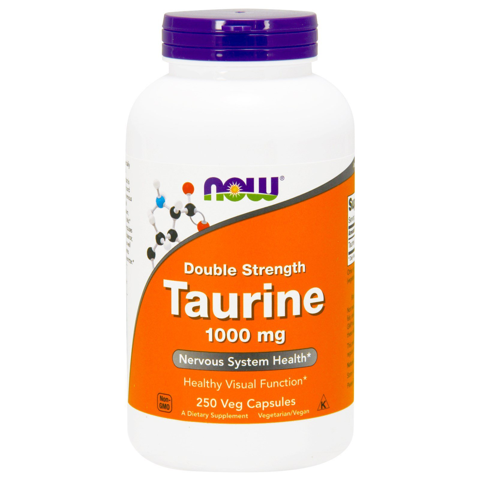 Таурин, Taurine, Now Foods, 1000 мг, 250 капсул