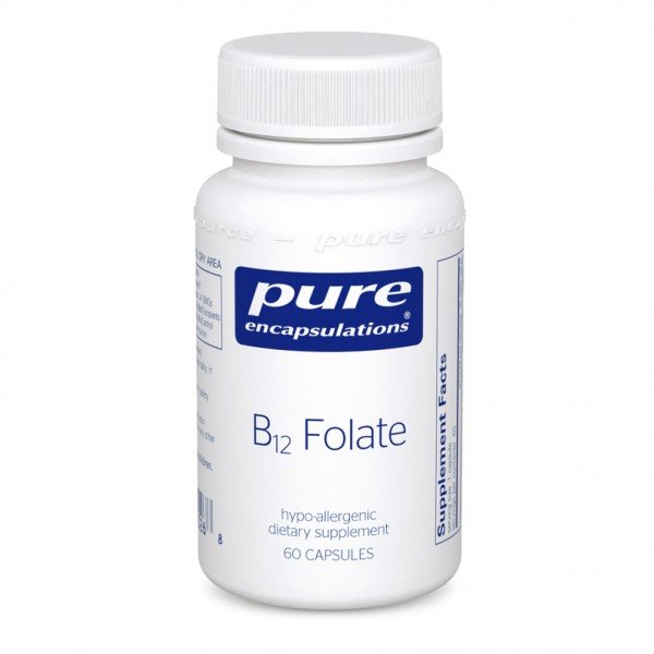 Вітамін B12 і Фолат, метилкобаламін, B12 Folate, Pure Encapsulations, 60 капсул