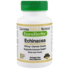 Ехінацея, Echinacea, California Gold Nutrition, EuroHerbs, 400 мг, 60 капсул