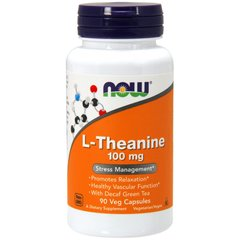 Теанін, L-Theanine, Now Foods, 100 мг, 90 капсул