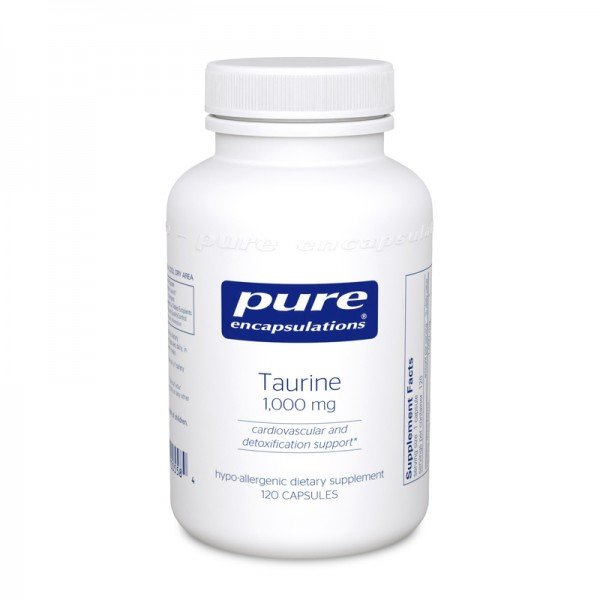 Таурин 1000 мг, Taurine 1000 mg, Pure Encapsulations, 120 капсул