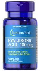 Гиалуроновая кислота, Hyaluronic Acid, Puritan's Pride, 100 мг, 60 капсул